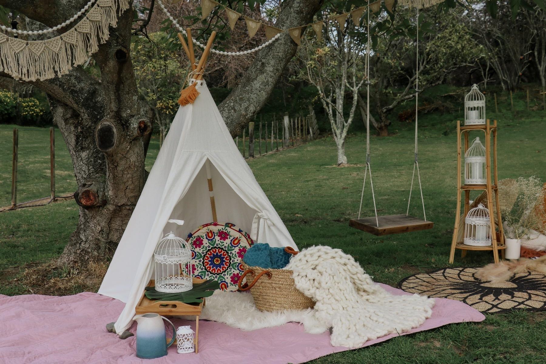 baby shower backyard teepee
